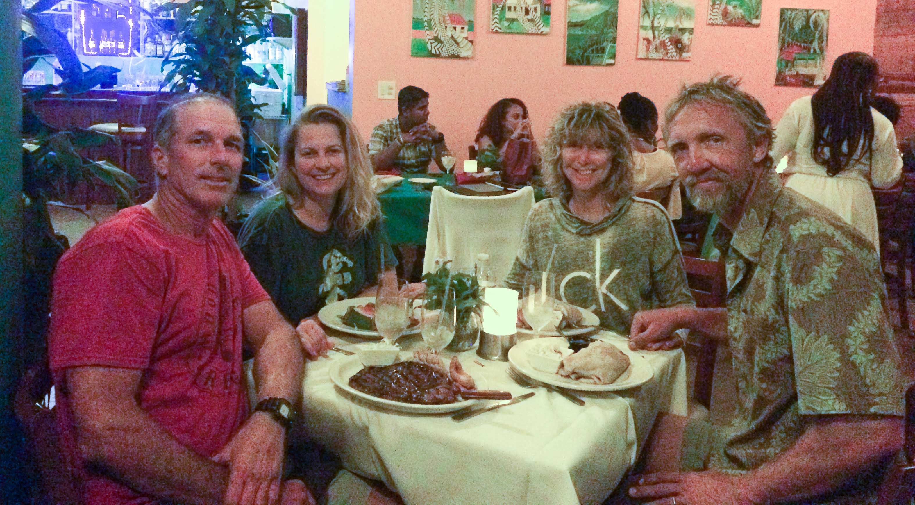 Steve, Carmen, Gail, and Ted having dinner at d'CoalPot.
