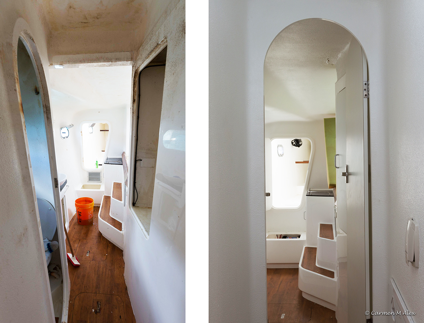 Before and after comparison of cabin cleaning.