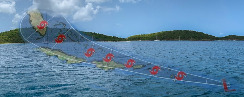 Image of Christmas Cove and cyclone Isaias track