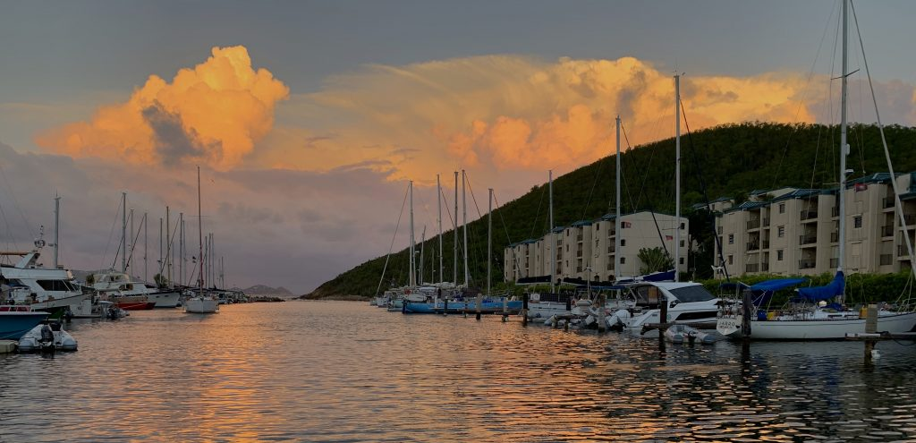 Image of storm clouds developing over Sapphire Marina, St. Thomas